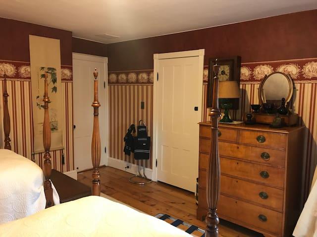 Closet and dresser.