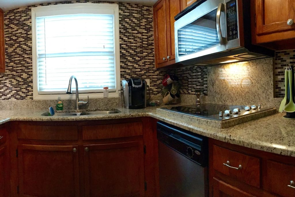 Kitchen with double sink and Keurig coffee maker