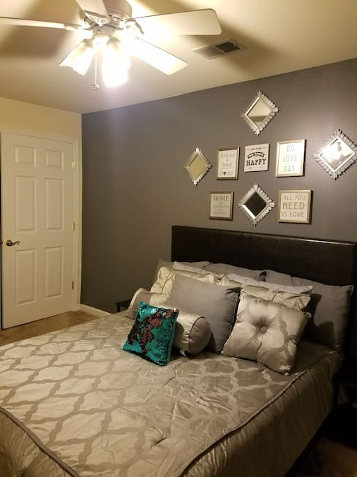 Our Absolutely Gorgeous Master Bedroom with Walk-in His and Hers Closet and Ceiling Fan For Your Comfort and Pleasure as well as a Futon for the Kids!