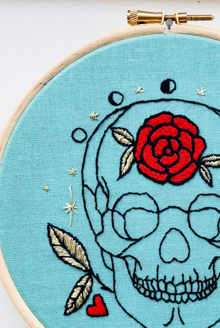 Skull and Roses Embroidery Kit