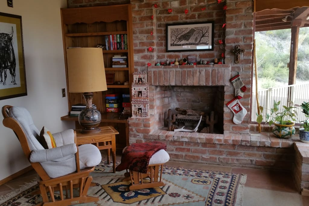One of two fireplaces