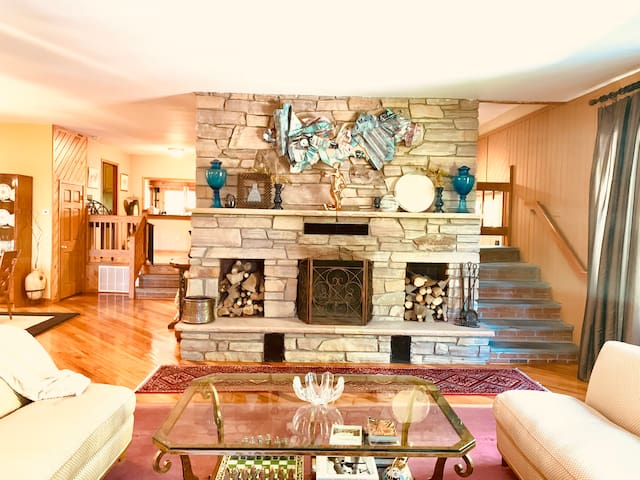 Wood burning fireplace in the formal living  room