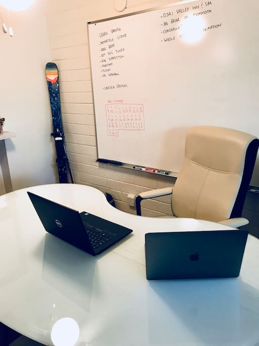 Glass Desk with Dry Erase Board, Printer, and Wi-Fi