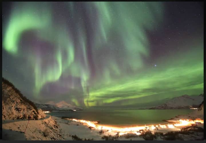 Eidkjosen Tromsø Kvaløya Kaldfjord northern lights