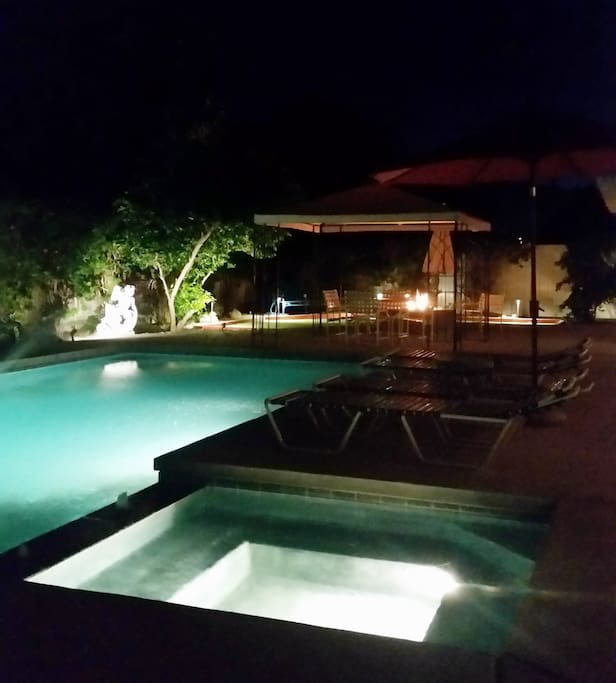Take a relaxing dip in the private Pool & Jacuzzi and then sit by the fire.