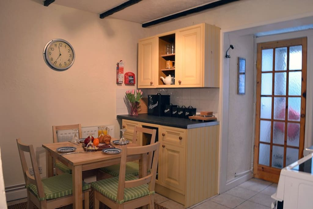 Kitchen area with seating for four