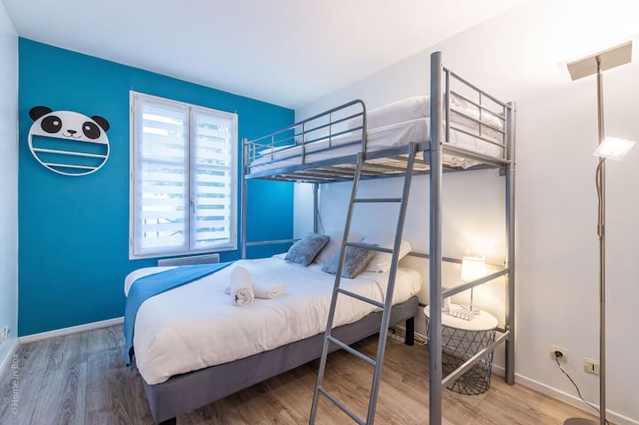 Children are going to love their little hideout furnished with a cool bunk-bed!