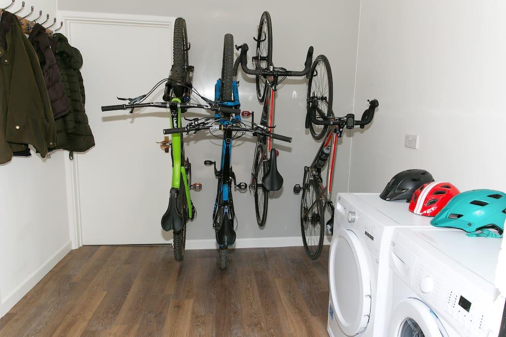 Secure bike storage and utility room