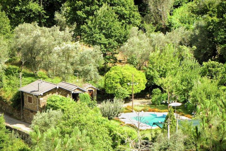 Ferienhaus für zwei in idyllischen Garten mit Salzwasser-Pool