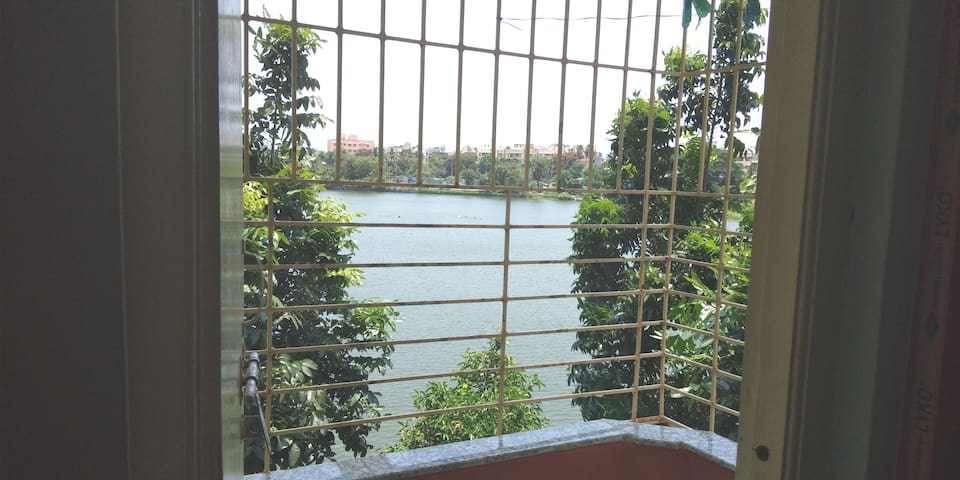 Balcony with lake view