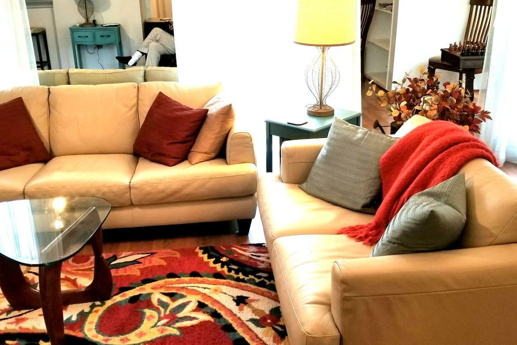 There is plenty of seating for your group, including 2 leather couches.
