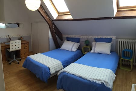 Chambre privée 2 lits simples - Caen - Bed & Breakfast