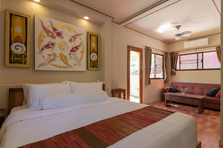 first king bedroom with ensuite bathroom, AC and air purifier