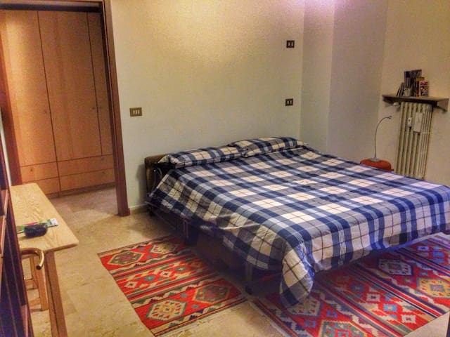 Spacious room with private bathroom and balcony