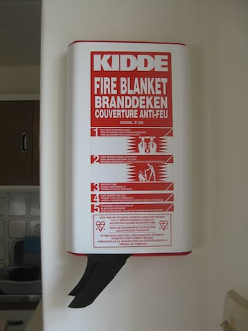 Fire blanket, in kitchen.