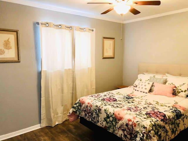 Gorgeous queen bedroom.
