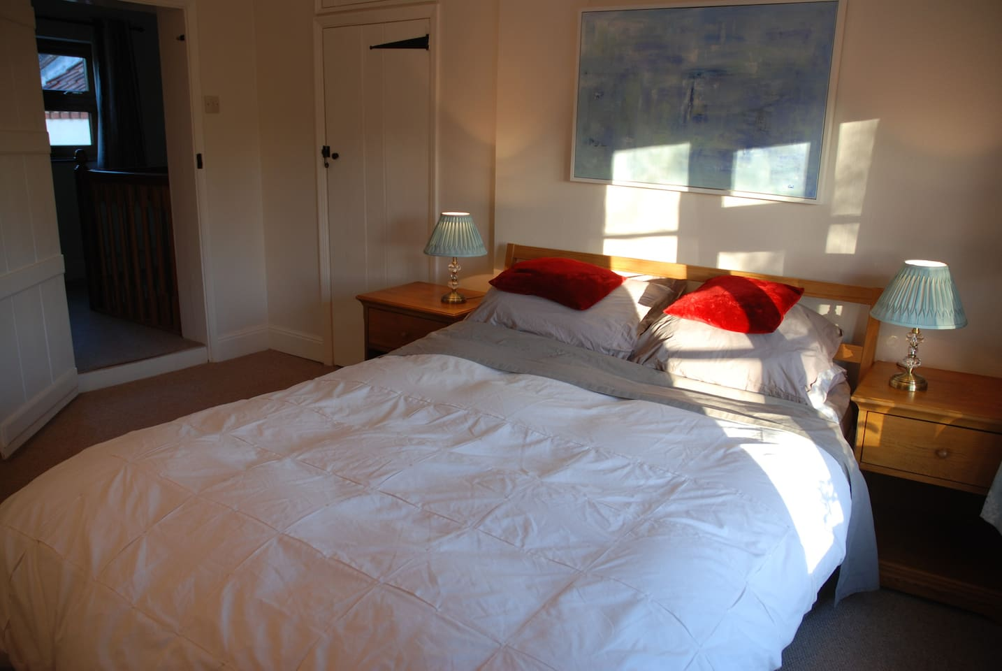 Double bed in spacious room