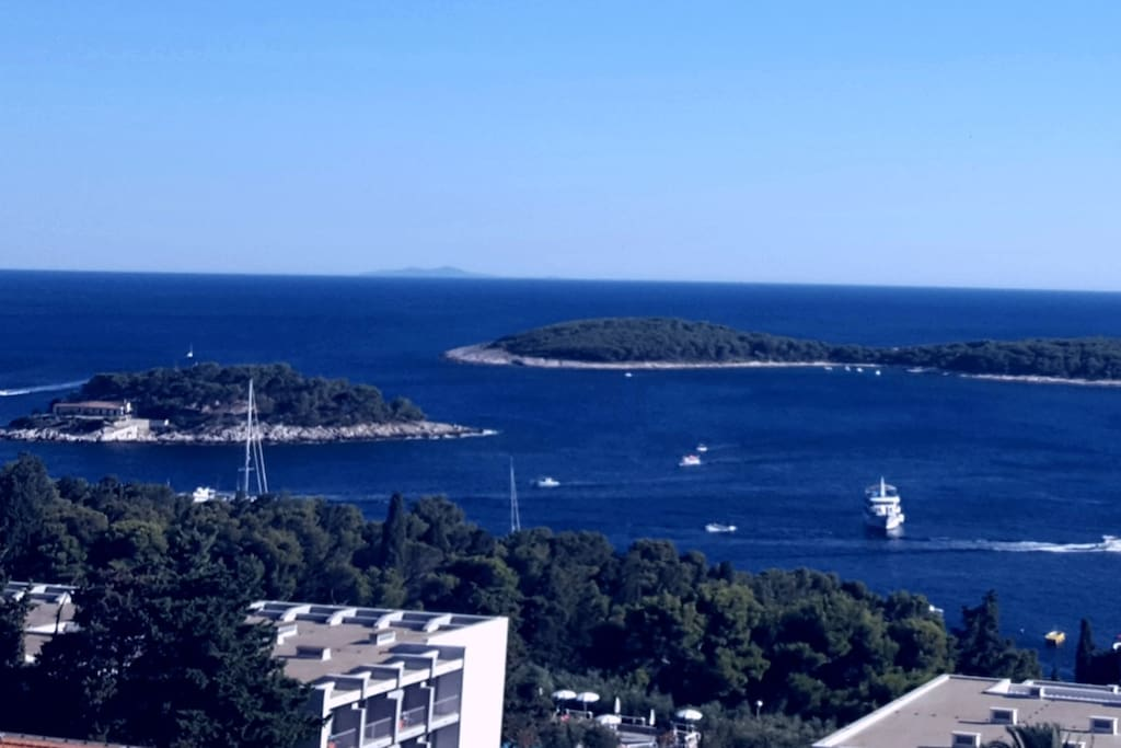 Panorama apartment view on Pakleni Islands