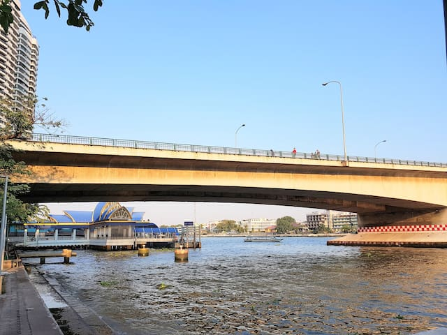 you can walk across the Pinklao Bridge to Sanam Luang and Khaosan Road
