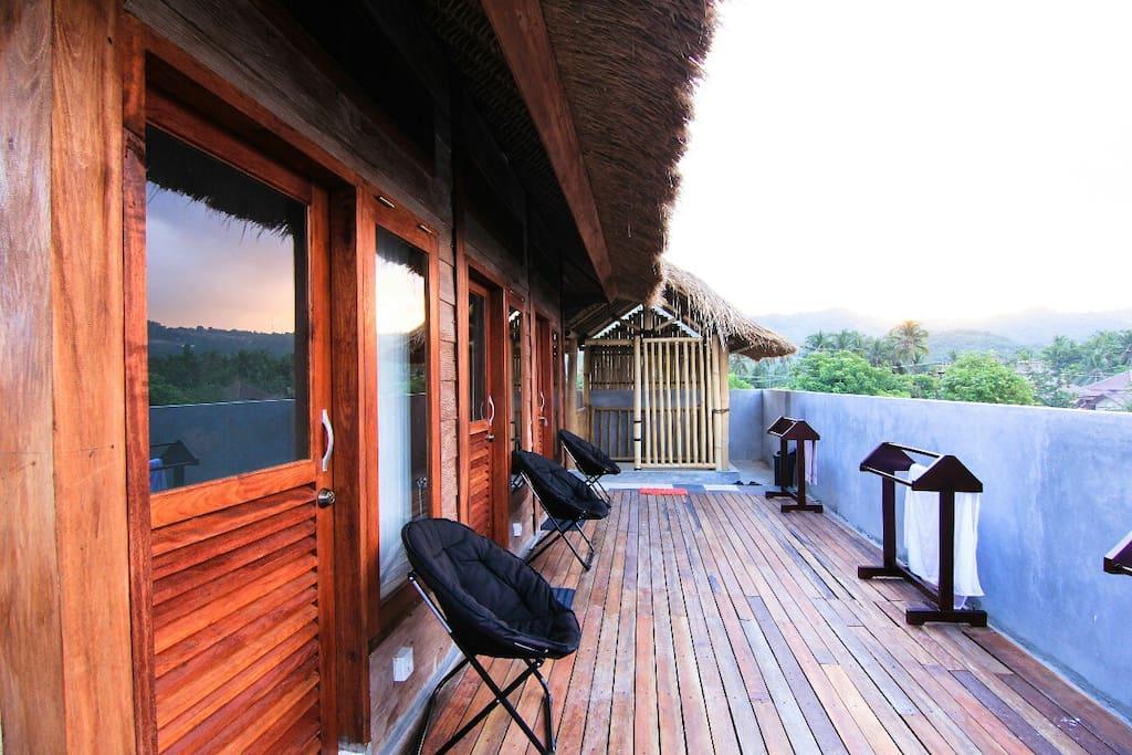 The verandah and view around