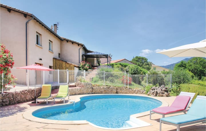 Amazing home in St Fortunat sur Eyrieu with WiFi, Outdoor swimming pool and 5 Bedrooms