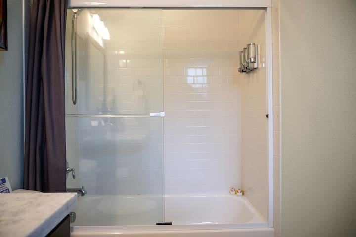 Tub or shower - it is your choice! The shower head detaches as well.