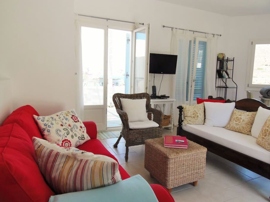 House 1 - enjoy fabulous sea views from the sofa/lounging area