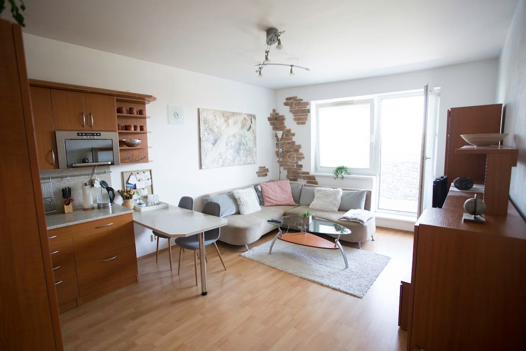 Cozy space for your stay in Bratislava. Folding couch. Door to loggia.