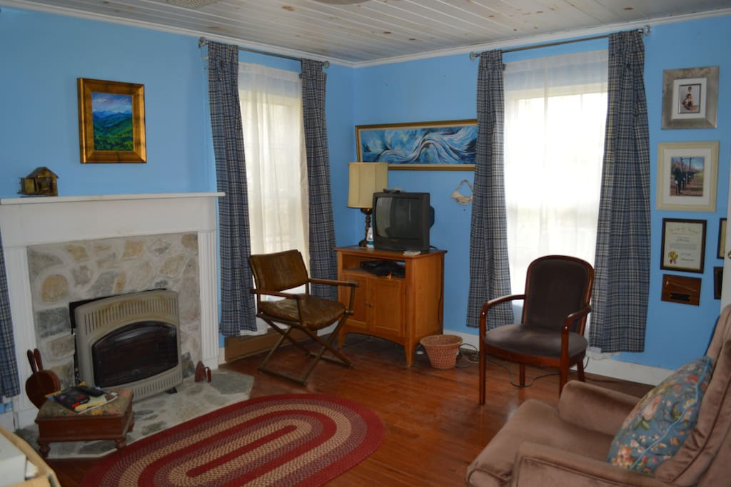 This is one of the original rooms of the old home. The propane gas fireplace keeps the room very warm on cold days.