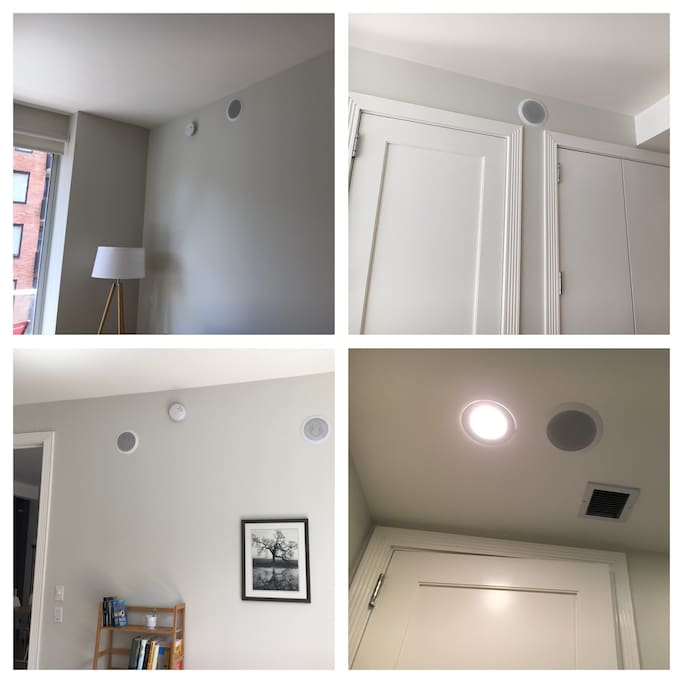 Surround sound blue tooth speakers in living room, bedroom, kitchen and bathroom