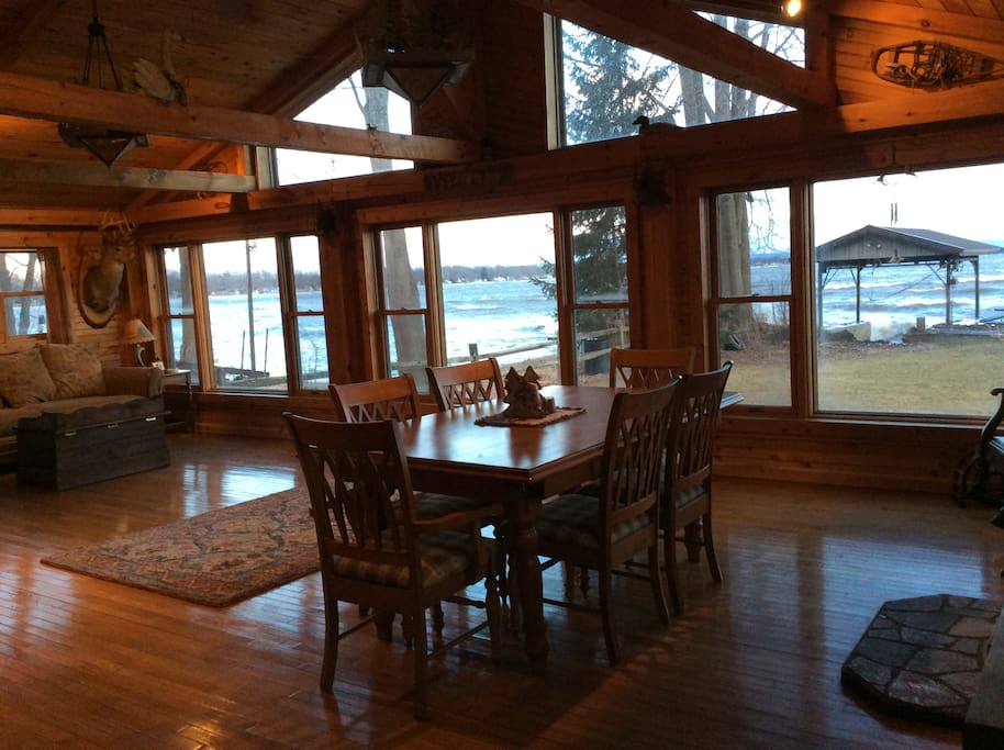 Dining area with a beautiful lakefront view