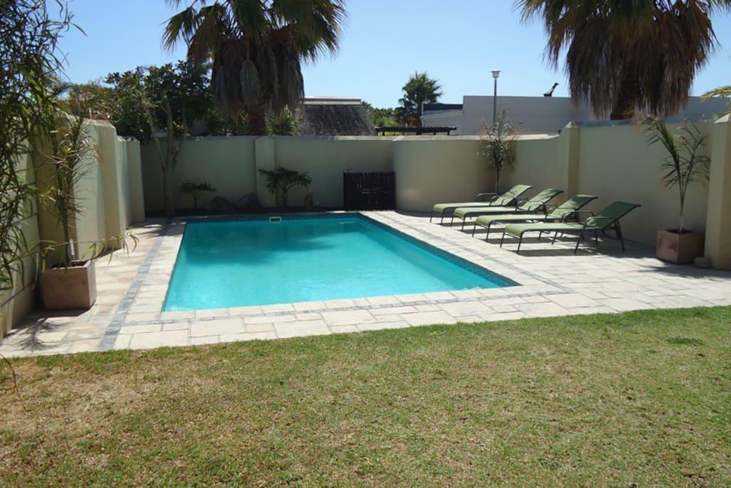 large solar heated pool