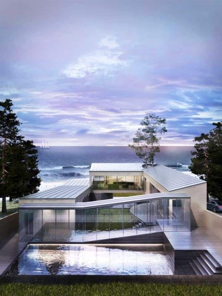 Casa moderna a pie de playa con piscina