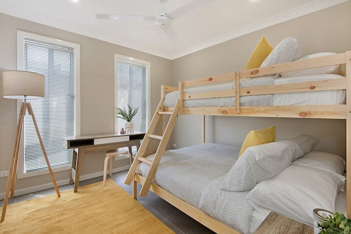 Bedroom 2 featuring bunk bed with quality double & single mattress on top.