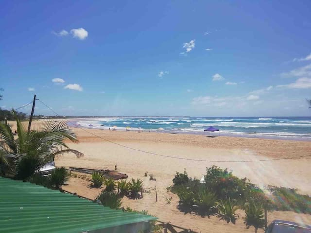 View of the beautiful Tofo Beach from the rooftop veranda