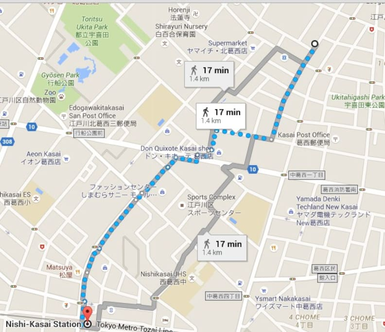 Map from Nishi Kasai station