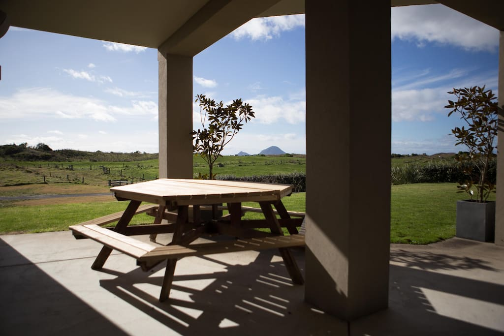 Picnic Table On The Patio Outside Your Room