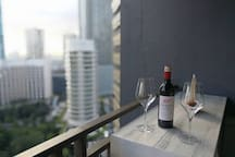 You can also have some wine at the balcony.