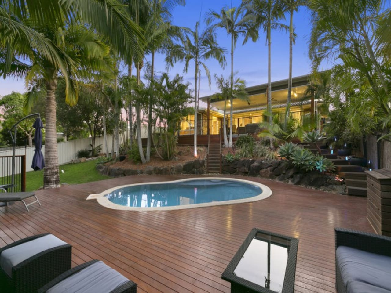 Tropical backyard with pool