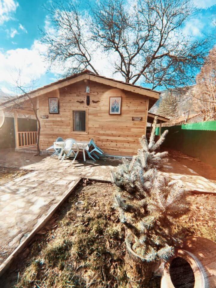 Tarihi konak bahçesinde bungalov ev