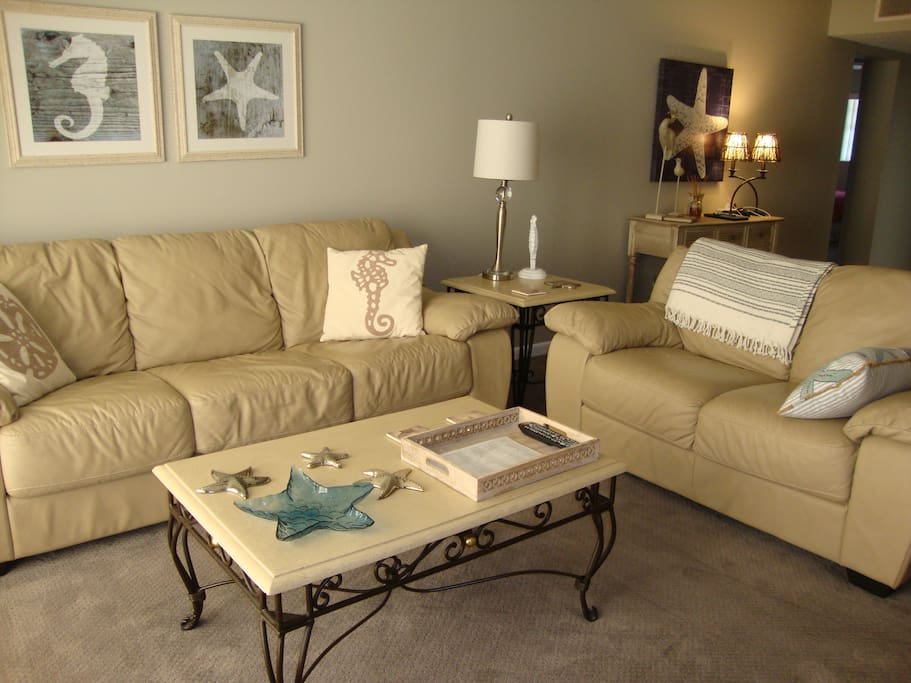Comfortable living room.  New carpet throughout.