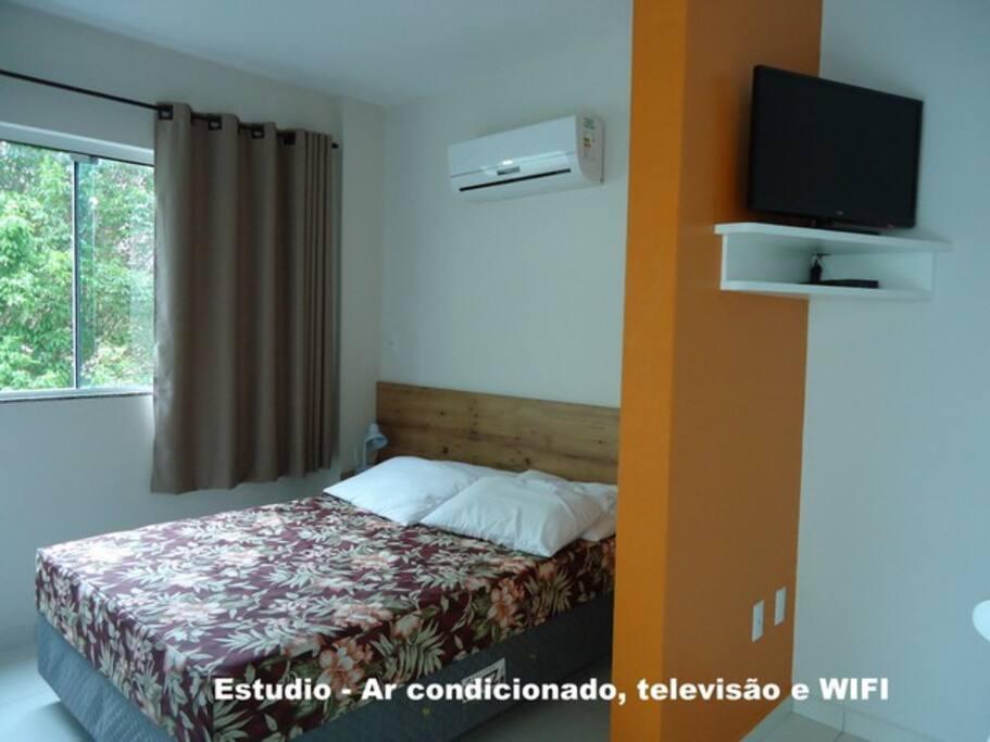Cama de casal e ar condicionado no quarto e televisão na sala.