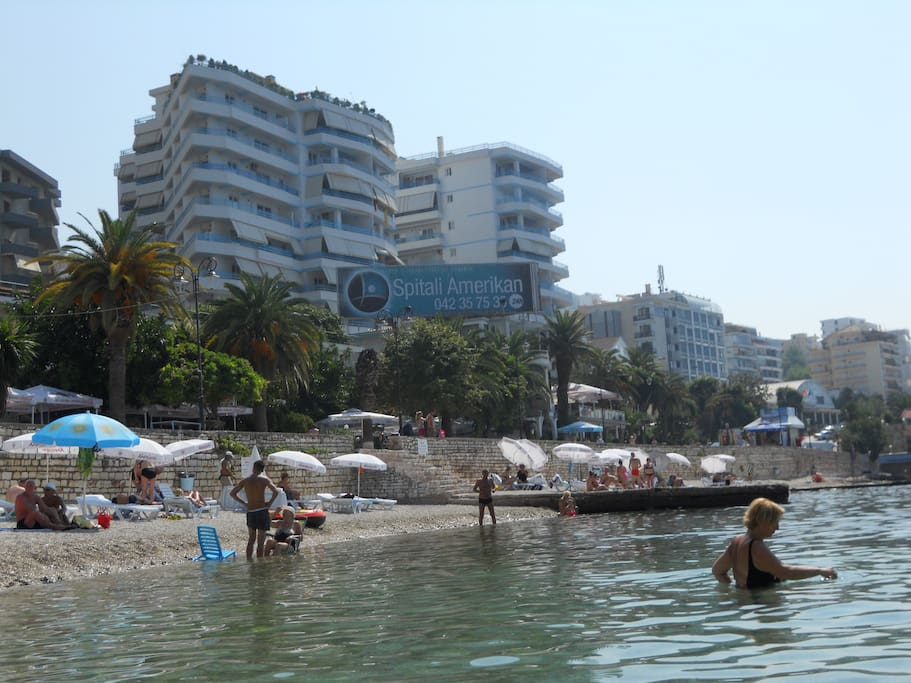 our building seen from the beach