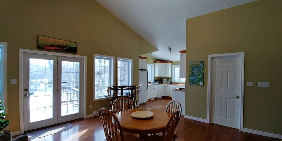 Bright and spacious with views of lake and nature.