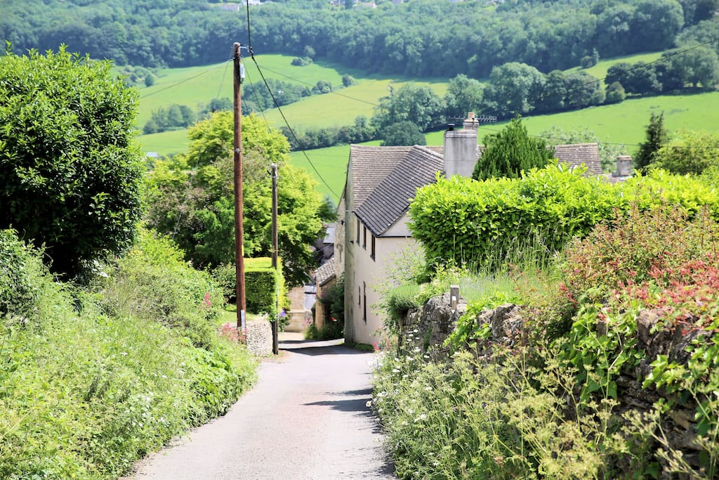 The single track road up to your apartment in Bospin Lane is typical of many Cotswold villages.