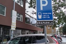 Parking  1. Tatari 16.  www.citypark.ee - 5 euro - tsoon CP40. Payment by phone.