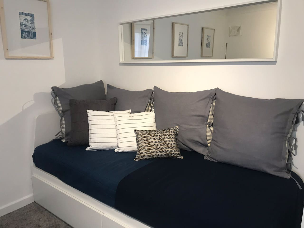 Your day-bed/sofa.  This pulls out to become a king size bed with top quality mattresses.  Can be made up as a bed for your arrival if requested.