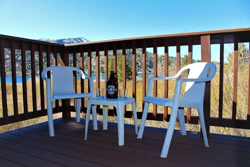 Outside Deck with propane bbq and sitting area. Views of June Lake