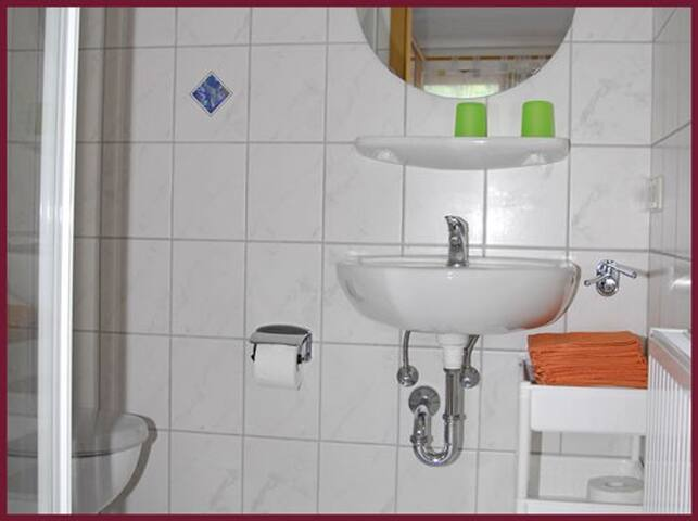 Bad mit Echtglasdusche und WC, Mayer Burghöfe, Ferienwohnung 4a