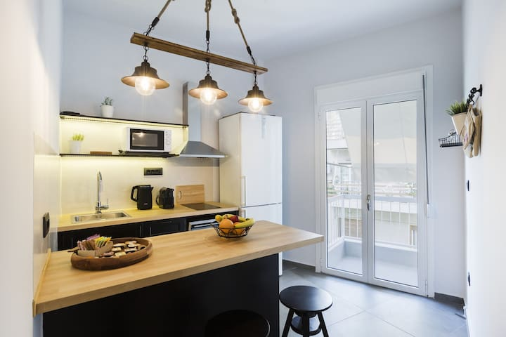 A modern kitchen with all necessary  appliances